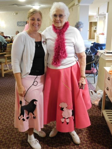 Our two cute gals, Tonya and Shirley, dressed for the 50's for this year's Halloween party.