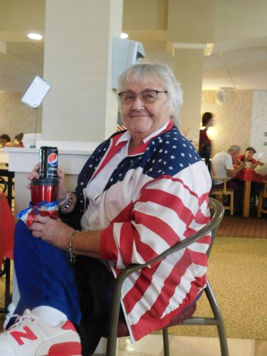 Karen was one of our winners for Patriotic Day on 9-11.  Doesn't she look patriotic!! Must we NEVER forget!