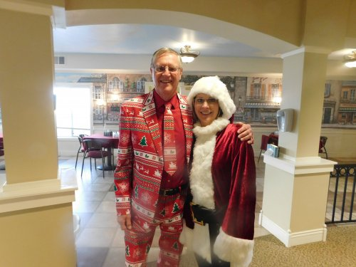 Larry, Bus Driver and Lisa, Sales (Mrs. Claus) passed out the gifts at our Christmas Party.
