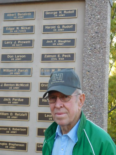 Harold at the Veterans' Memorial with his name and his Dad's name in the background...something to be proud of!
