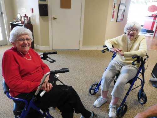 Betty S. and Betty S. (isn't that something?) enjoying a rest and conversation.  We have such happy residents!  This Is Living!