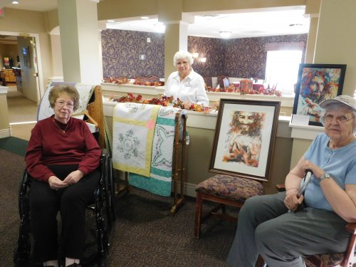 Myrtle, Betty, and Darlene enjoying some of the neat exhibits at our Art Show/Gallery.