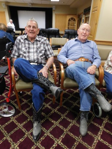 Look at these 'cowpokes' showing off their boots.  Looks good, Ray and Larry!