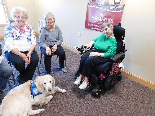 'Moses', one of our local comfort dogs, stops by to visit once a month.