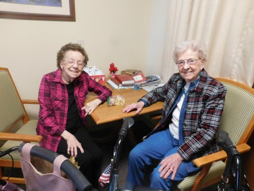 What fun to visit Primrose Friends that are away from the facility for a time.  Elaine and Ellen have a special time of 'catch up'.