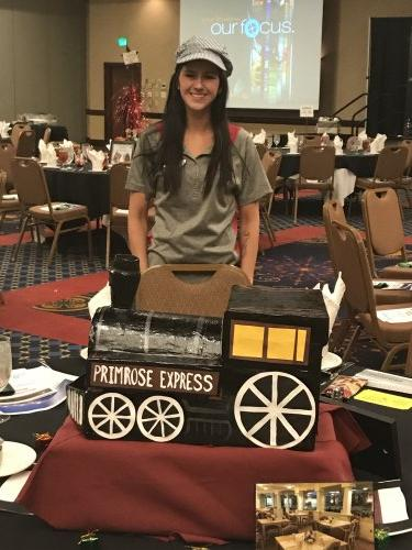 Kelci, our new Sales Director, shows off her Primrose train she made for our local Chamber of a Commerce luncheon.