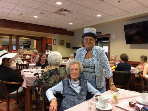 Mary and Jessie looked fabulous at our Mother's Day tea party.