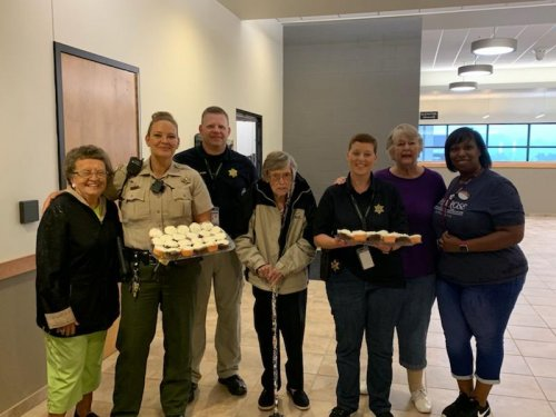 Mary, Kathy, Evelyn and Dawn delivered our homemade cupcakes to our local Sherriff Department as part of our Cupcakes for Cops activity.