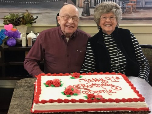 Jean is helping her husband Bernie celebrate his 91st birthday.