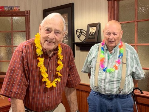 Roy and Sherwood are happy to attend our Grandparent's Day Luau!