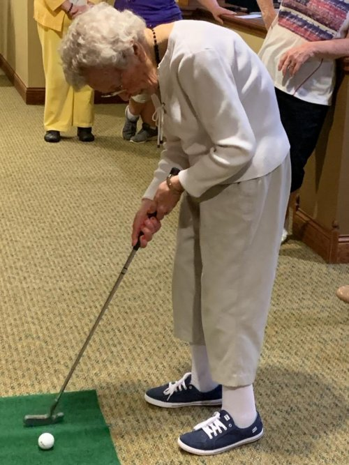 Jessie, our 103 year old resident got a hole in one!