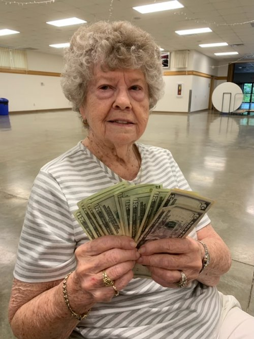 Jean was the big winner at our local Knight of Columbus bingo!