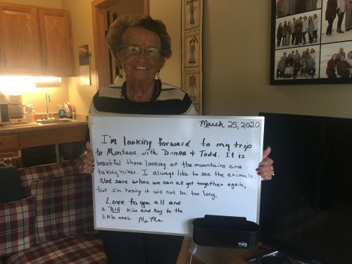 Mary wanted to send a note to her family!