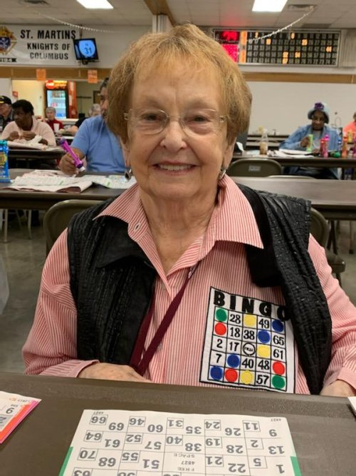 Mary Ann wore her lucky bingo shirt to bring some good luck.
