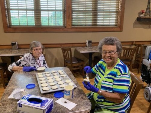 Kathy and Mary are icing cupcakes to deliver to our local Sherriff Dept. to show our appreciation for all of the hard work they do in our Jefferson City community.