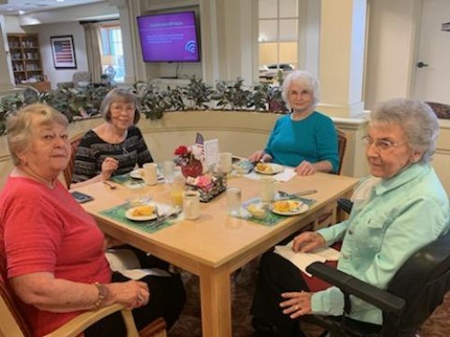 Evelyn, Joycelyn, Sharon and Rosa are enjoying the women's friendship breakfast!