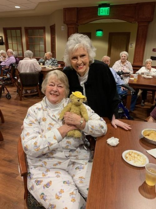Evelyn and Mary are having a blast at our pajama party!