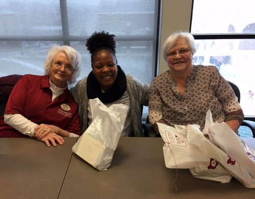 Sharon and Sandy are sharing a random act of kindness with Josie, a Lincoln University student.