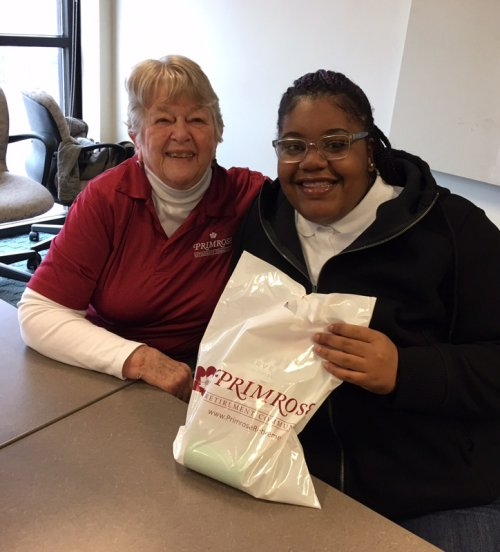 Evelyn is sharing a random act of kindness with a deserving Lincoln University student.