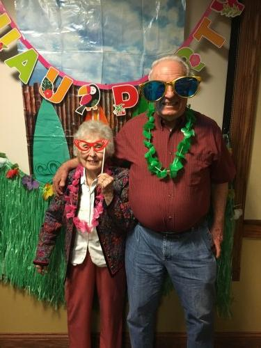 Jake and Joyce look fabulous at our Grandparent's Day Luau!
