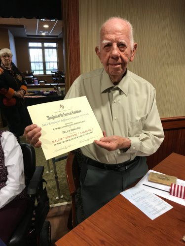 Billy received you Veteran's Day Certificate at the Jefferson City Primrose Veteran's Day Celebration.