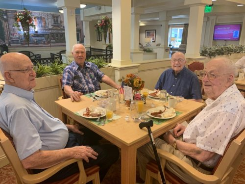 Wendell, Lawrence, Bernie and Roddy are reminiscing about their service days at the Veteran's Breakfast.