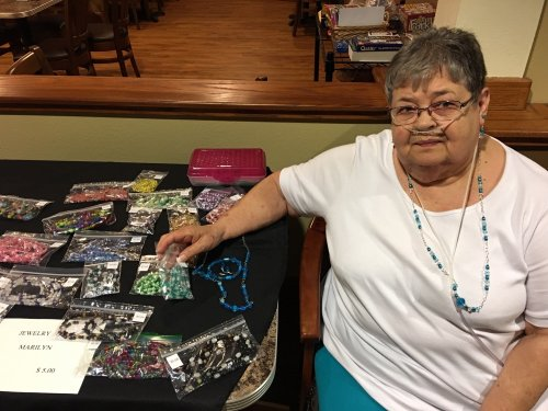 Marilyn is selling her homemade jewelry at our fall festival