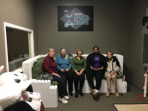 Residents enjoying their mystery trip to the local Escape Room.