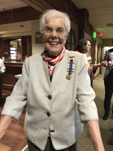 Louise, a member of DAR, is celebrating Veterans' Day