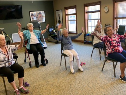 After eating great meals, it's important for our residents to stay fit!