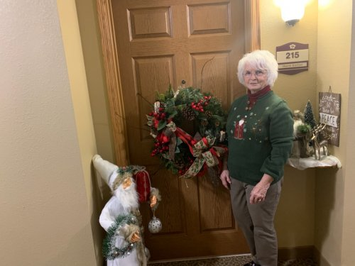 Sharon is showing off her beautiful Christmas decorations during our resident open house.