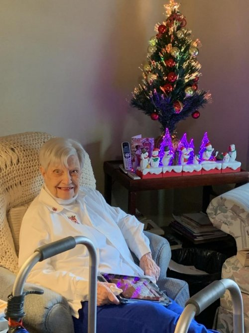 Lorraine is showing off her beautiful Christmas decorations during our resident open house.