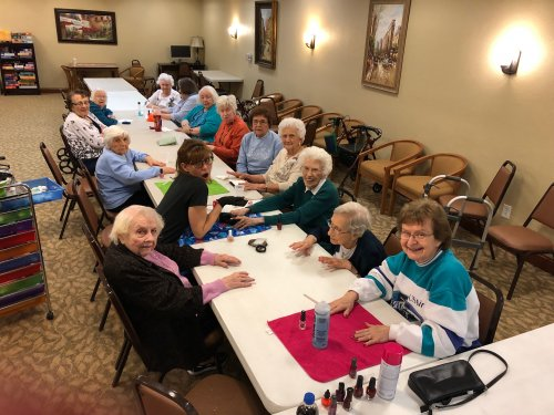Our Ladies LOVE to have their nails painted and they are all ready looking good for our Valentine's Day Party next week.