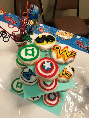 These are the amazing cookies we had for Grandparents= Superhero's Day!