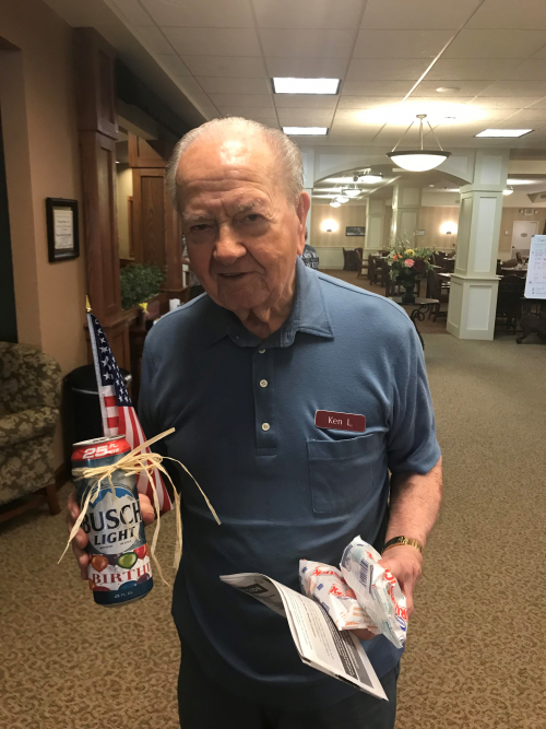 It's great to turn 99! Ken still drives and never misses exercise! He didn't want cake, he wanted something with a little more punch!