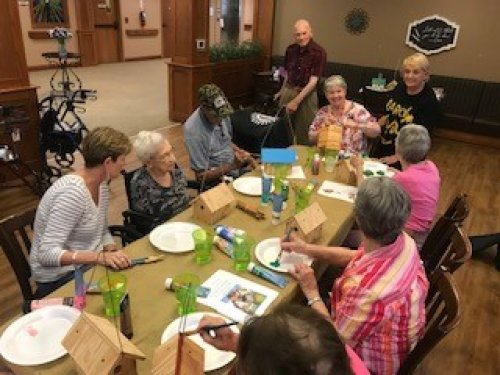 Harold 98yrs young made bird houses for all of the residents in painting class.