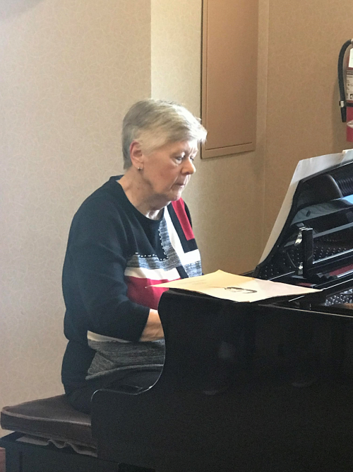 Our Very own Carole. T on the piano playing ragtime for the residetns