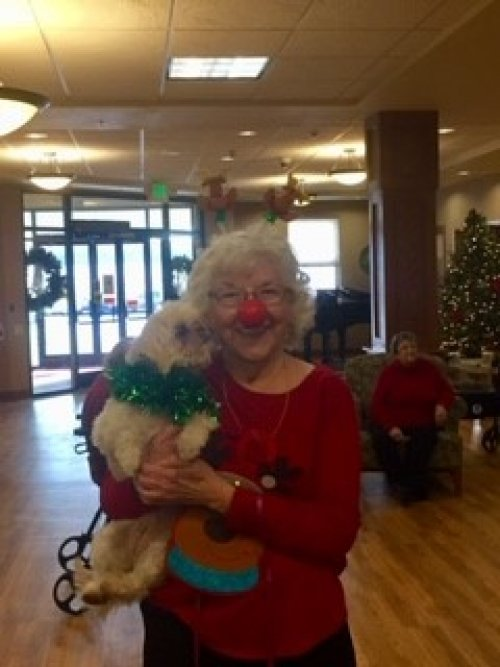 Bobbie and her dog Honey are showing the Christmas spirit!