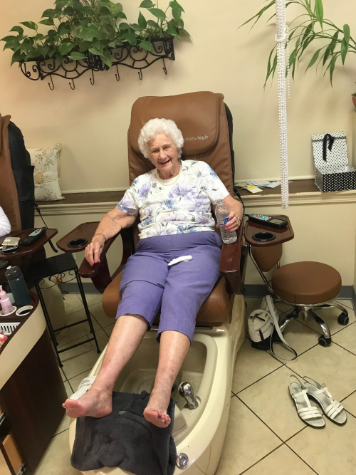 Diva Day! Dorothy was pampered with a manicure and pedicure! This is now a monthly DIVA event!