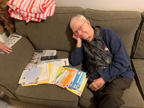 50 plus birthday cards for the 97 years young Jack! Still running around all og us!