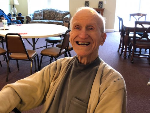 This is the smile that you have when you find out your best friend is flying in for your 99th birthday!