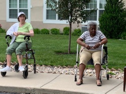 Maria E. and Mary C. enjoying the music outside! six feet apart of course!