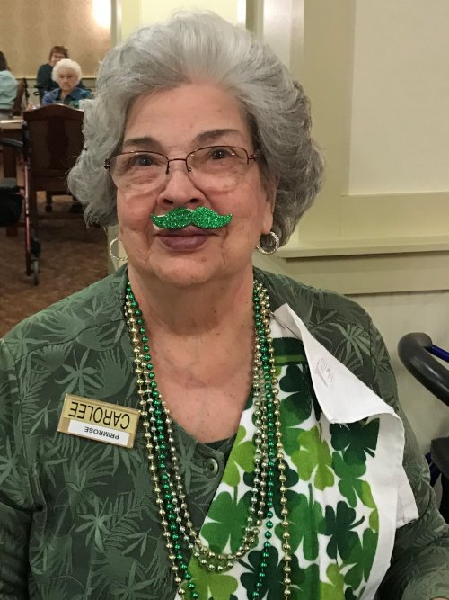 Carolee is right in the sprit for St. Pats Day!