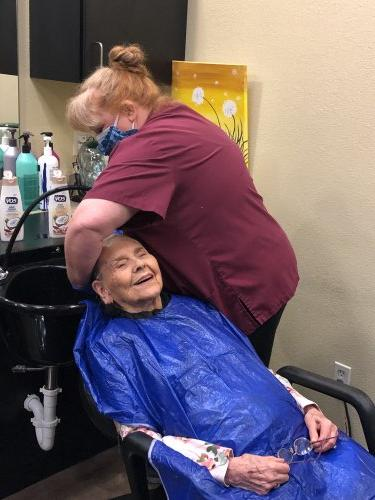 Martha is loving having Brenda (our housekeeper) Wash her hair after 6 weeks for waiting for a stylist.  She smiled because it felt so good.
