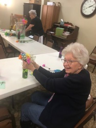 Betty had a great time making her vase of flowers.  Loved the bright colors!