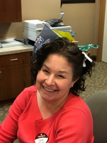 Carrie at our front desk is rocking the crazy hair!