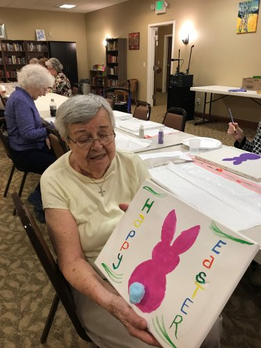 Nannie did a great job on her new Easter Sign