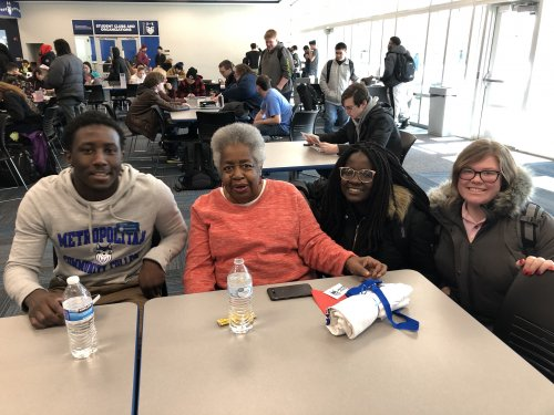 Mary made a new best friend at Maple Woods Community College, Random Acts of Kindness Day