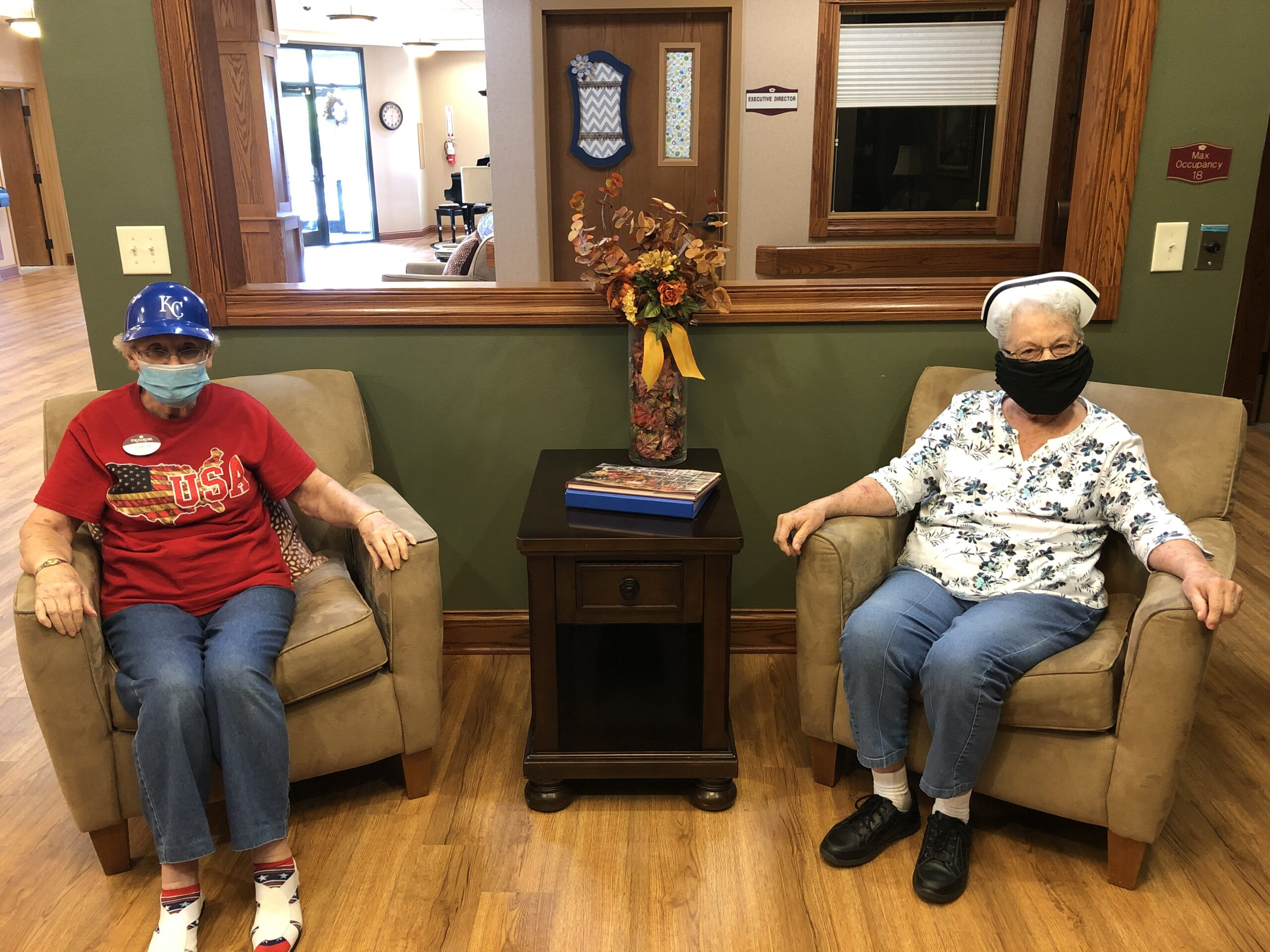 Residents participating in Theme Friday: Wear your favorite hat!