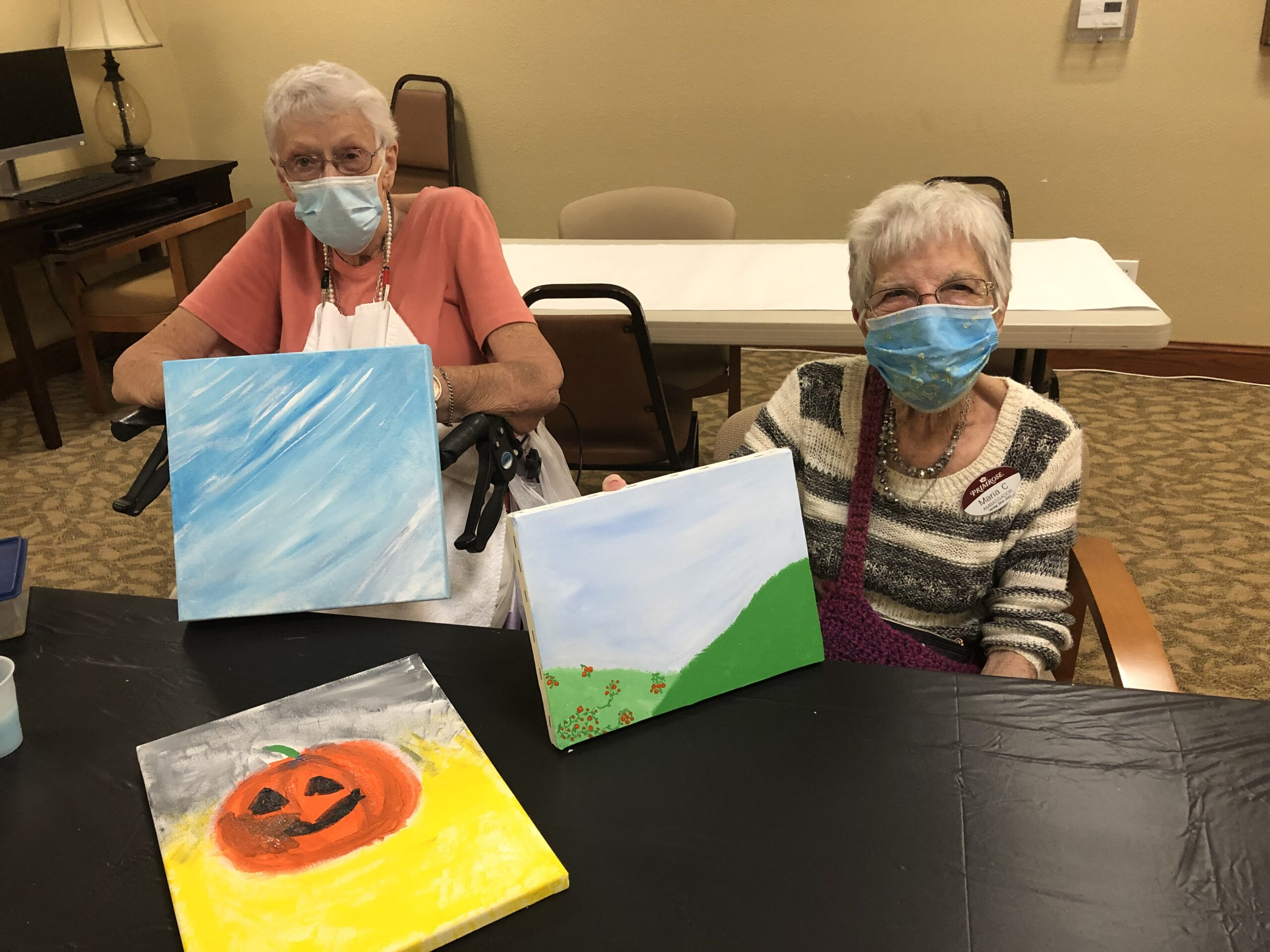 Carolyn and Marie enjoying our painting class!